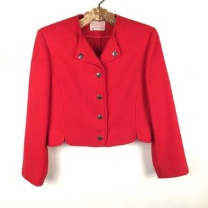 Red Wool Pendleton Cropped Blazer Military 4P